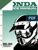 Honda Xr250r Service Manual Repair 1986-1995 Xr250
