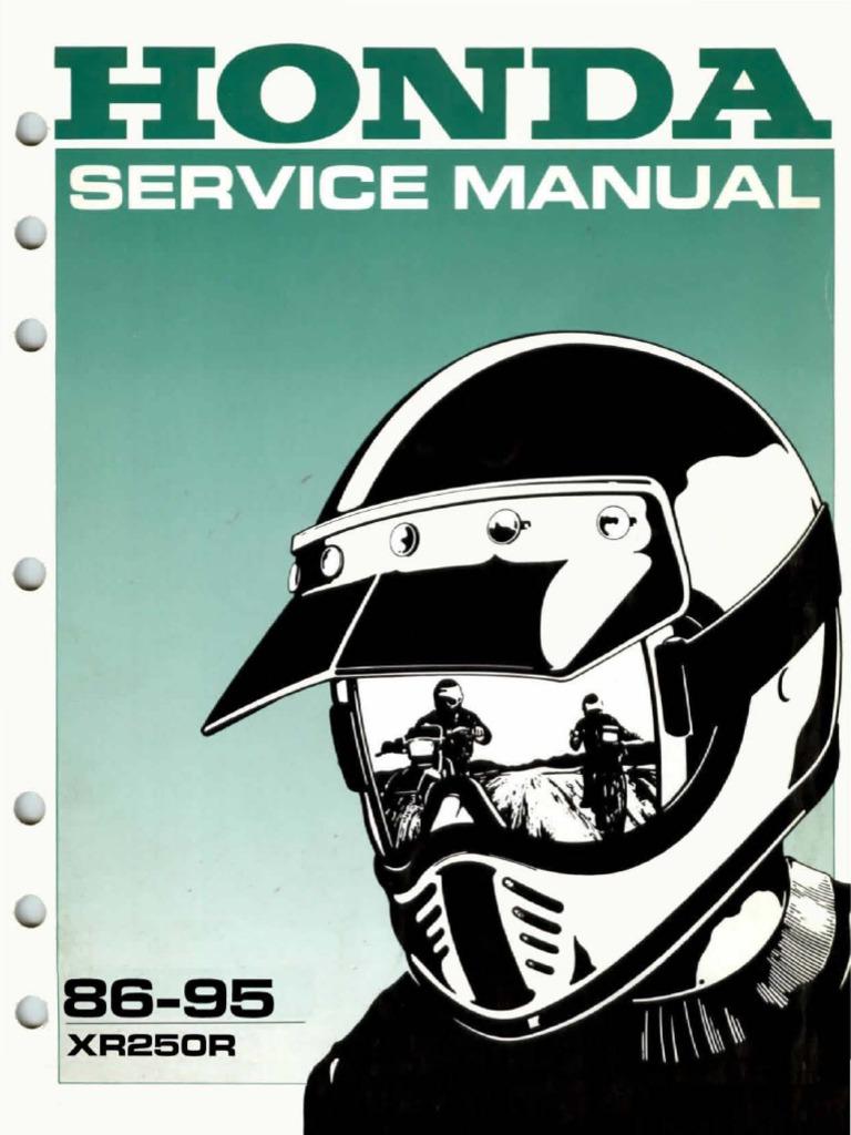 Honda xr250r service manual free.
