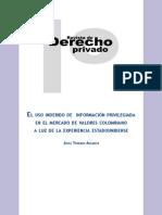 El uso indebido de información privilegiada en el mercado de valores colombiano a luz de la experiencia estadounidense