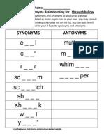 synonyms-antonyms brainstorming worksheet - bellow