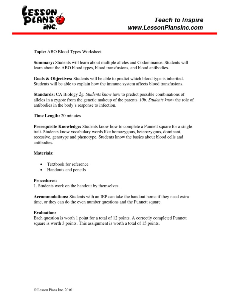 Free Worksheet. Incomplete And Codominance Worksheet. Phinixi.com ...