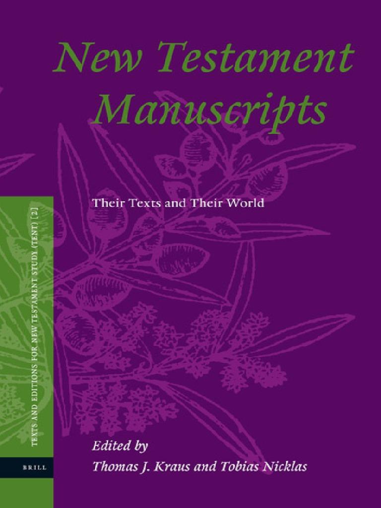 Thomas J. Kraus, Tobias Nicklas New Testament Manuscripts Their ...