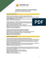 Agenda de Actividades Destacadas del 4 al 21 de diciembre de 2014. Fundación Caja Mediterráneo