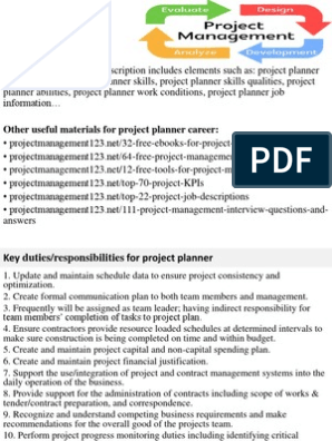 Project Planner Job Description | Project Management