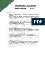 Criterios Mínimos de Evaluación Plastica Primer Ciclo