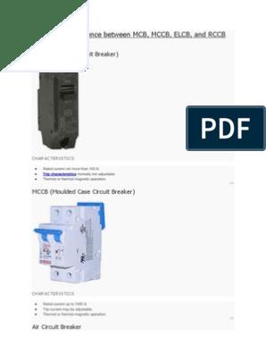 Difference Bn Mcb, Mccb, Elcb, Rccb, Acb & Vcb | Fuse (Electrical