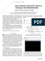 Design and Simulation of Speed Control of DC Motor by  Fuzzy Logic Technique with Matlab/Simulink