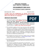 Ad of Hp State Eligibility Test(Set)-2014