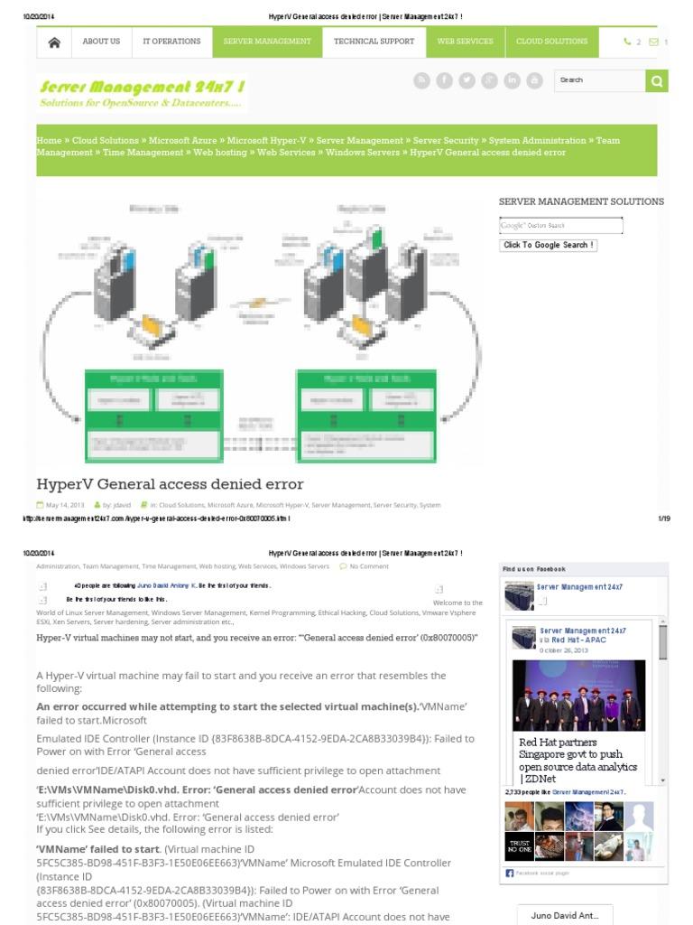 HyperV General Access Denied Error _ Server Management 24x7
