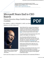 Microsoft Nears End to CEO Search - WSJ
