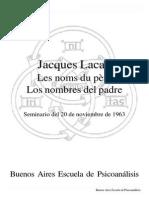 Jacques Lacan, Seminario Los nombres del padre, 20-11-1963