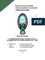 """""""LA PRODUCCIÓN DE ORO Y SU IMPACTO EN LA ECONOMÍA (SECTOR JOYERÍA PERIODO 1990 – 2008)"""""""