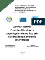 Contribuții la sinteza angrenajelor cu axe fixe prin evitarea fenomenului de interferență
