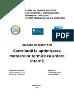 Contribuții la optimizarea motoarelor termice cu ardere internă