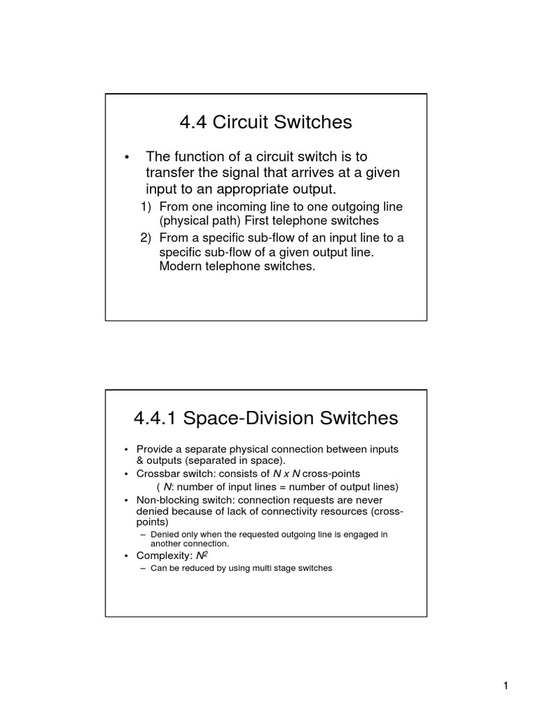Circuit Switching 1pdf Cellular Network Telephone Matrix Or Crossbar