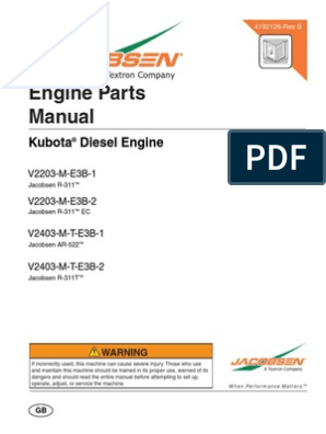 Manual de partes Kubota V2203 Series | Piston | Valve