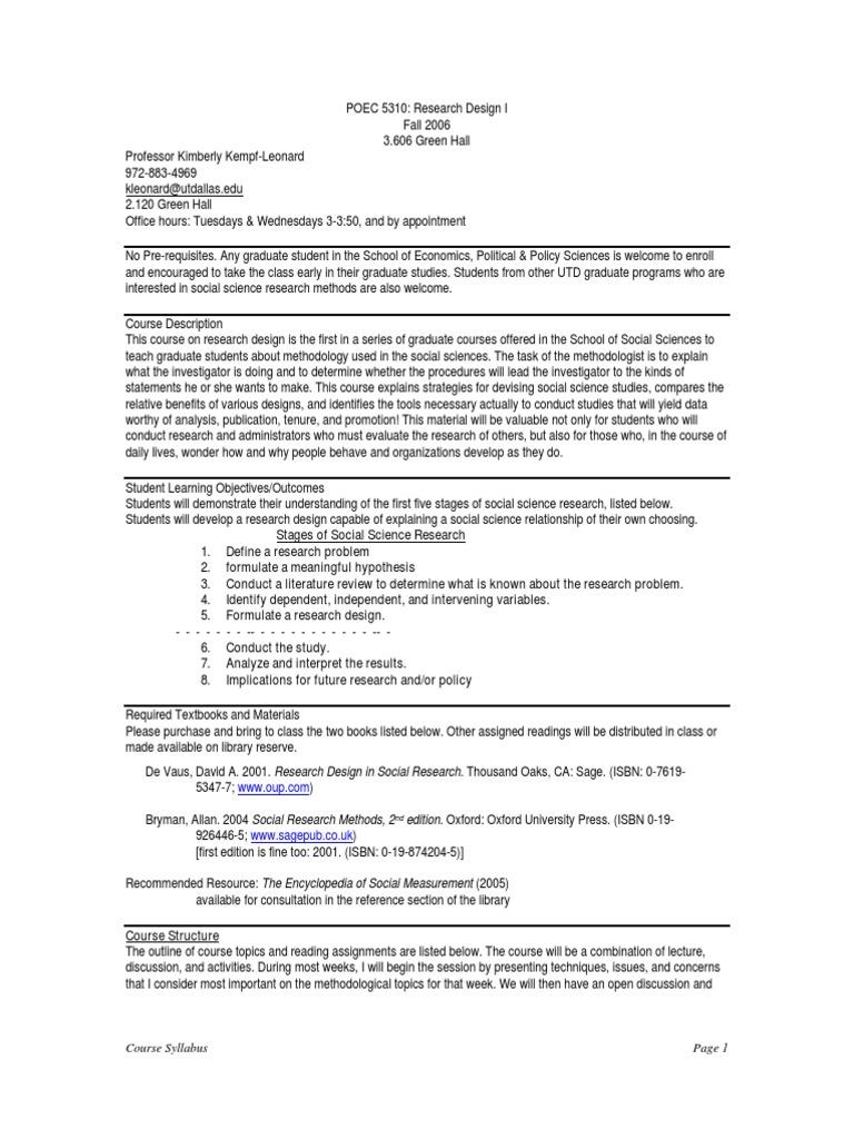 Ut Dallas Syllabus For Poec5310 001 06f Taught By Kimberly Kempf Leonard Kleonard Quantitative Research Qualitative Research