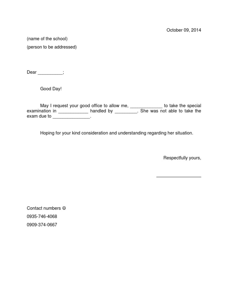 excuse letter for special exam
