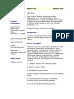 UT Dallas Syllabus for math6302.501 05s taught by   (tiberiu)