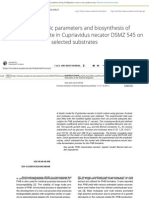 Growth kinetic parameters and biosynthesis of polyhydroxybutyrate in Cupriavidus necator DSMZ