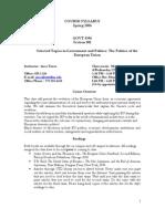 UT Dallas Syllabus for govt4396.001 06s taught by Anca Turcu (anca)
