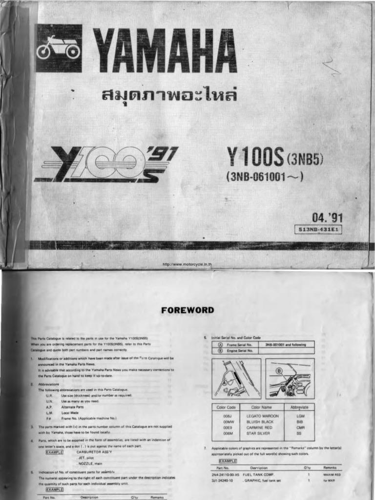 yamaha y100 beller parts manual rh scribd com Yamaha RS Yamaha Motorcycles