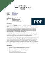 UT Dallas Syllabus for ed3314.002 05f taught by Sharon Fagg (sxf044000)
