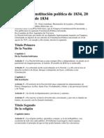CONTITUCIÓN POLITICA DEL ESTADO BOLIVIA 20.10.1834