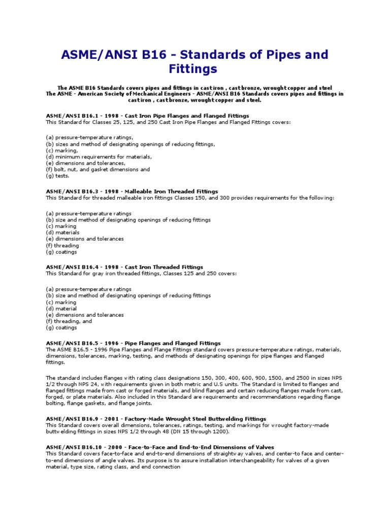 ASME B 16 Standards | Pipe (Fluid Conveyance) | Soldering