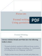 formal writing and quotations