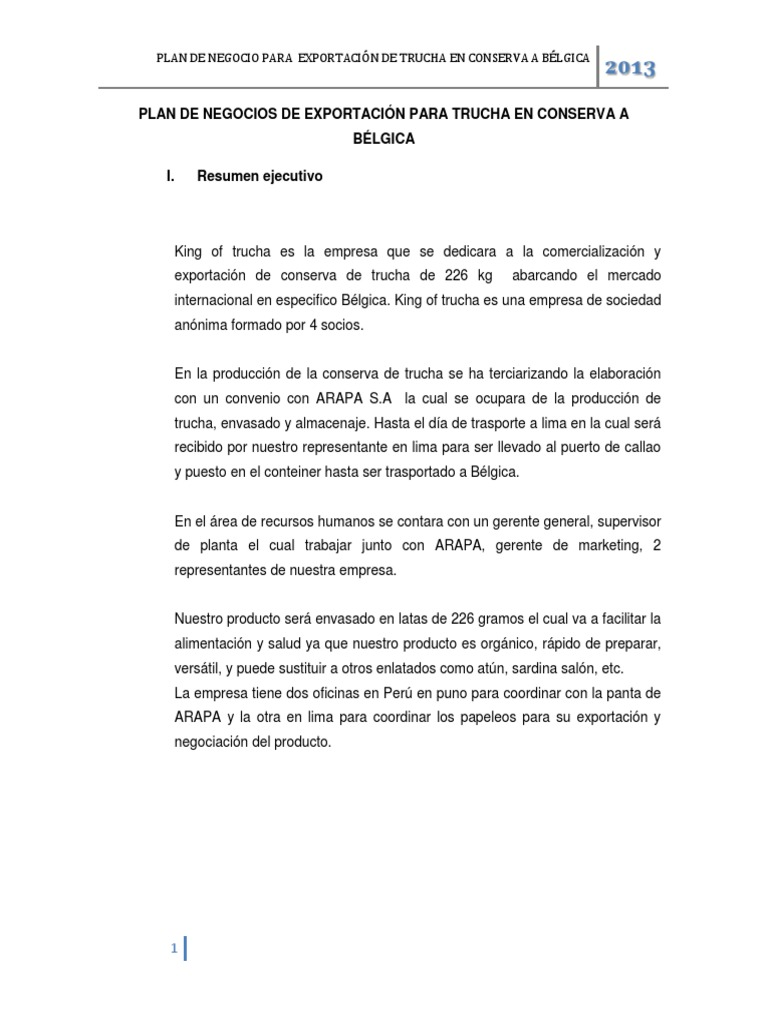 PLAN DE NEGOCIOS DE EXPORTACIÓN PARA TRUCHA EN CONSERVA A BÉLGICA