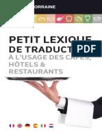Petit Lexique de traduction à l'usage des cafés, hôtels et restaurants