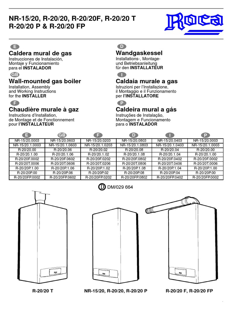 Nr 15 20 instalador for Instrucciones caldera roca