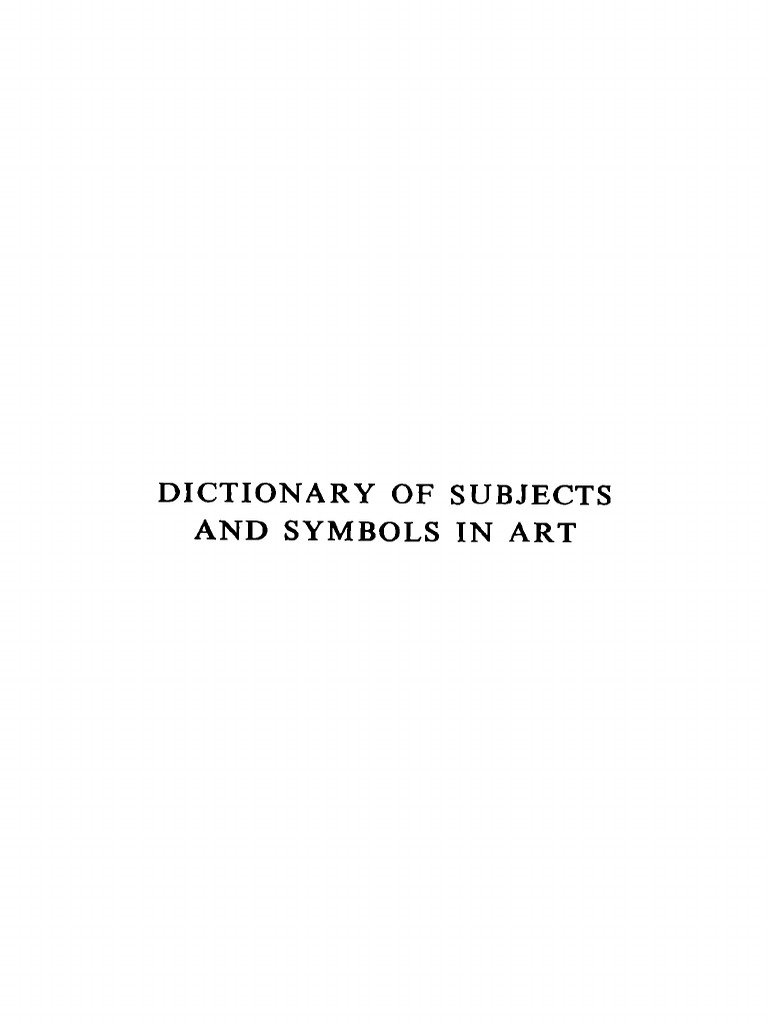 James Hall Kenneth Clark Ed Dictionary Of Subjects And Symbols