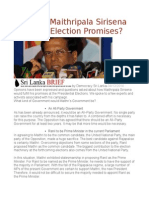 How Will Maithripala Sirisena Keep His Election Promises