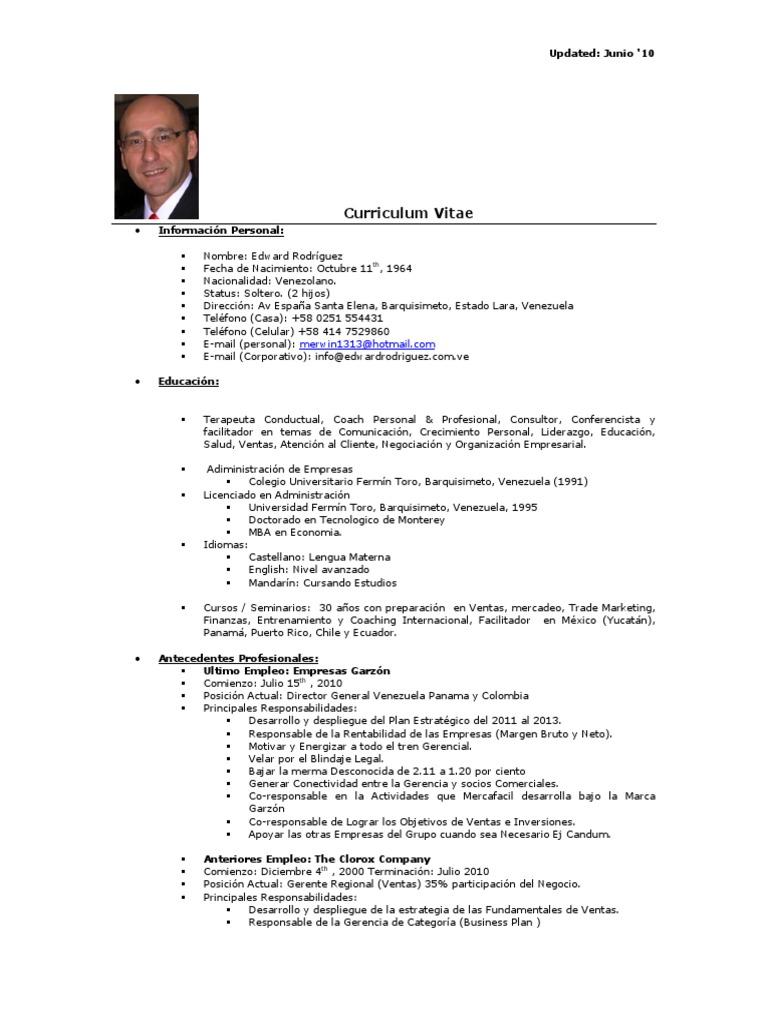 Vistoso Curriculum Vitae, Gerente De Marketing De Curriculum Vitae ...