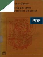 Teoria Del Texto e Interpretacion de Textos Walter Mignolo