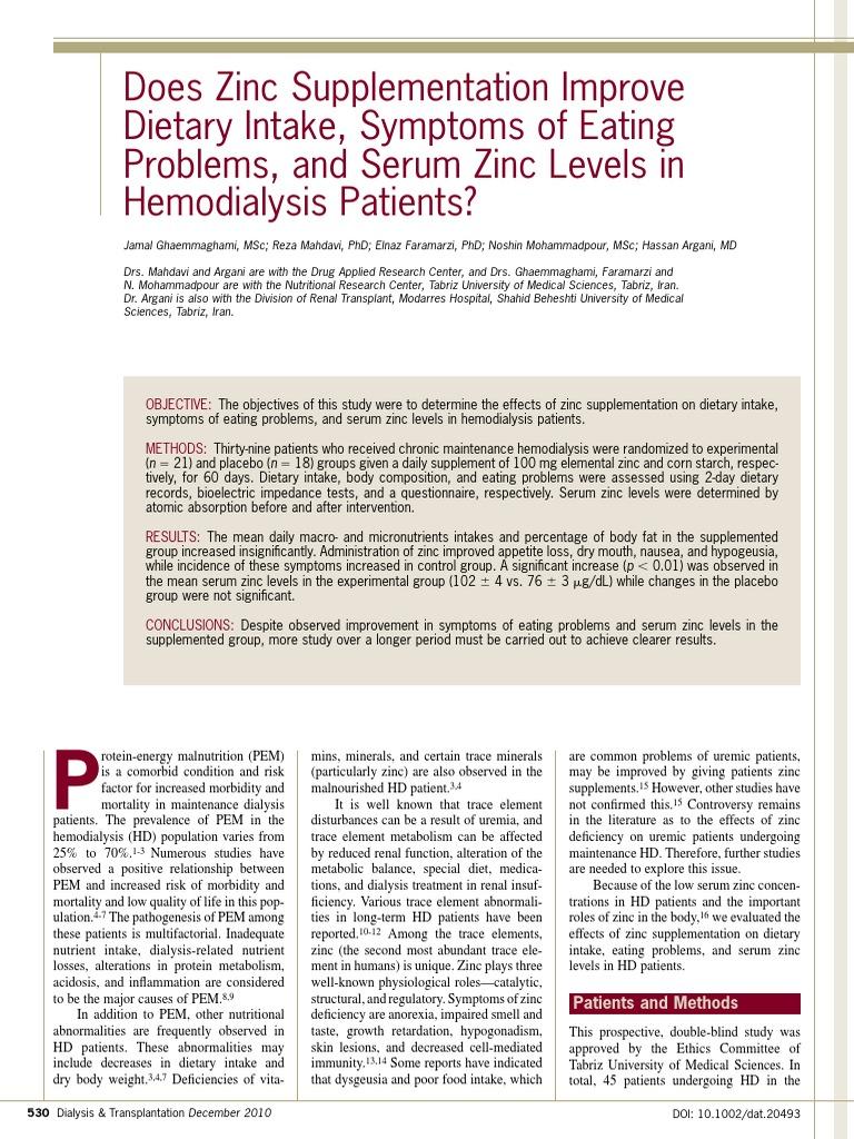 Zinc Supplementation Improve Dietary Intake Dialysis Hemodialysis