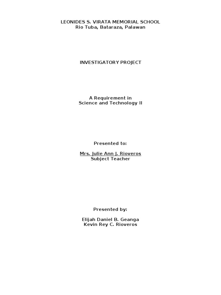 science investigatory project titles biology