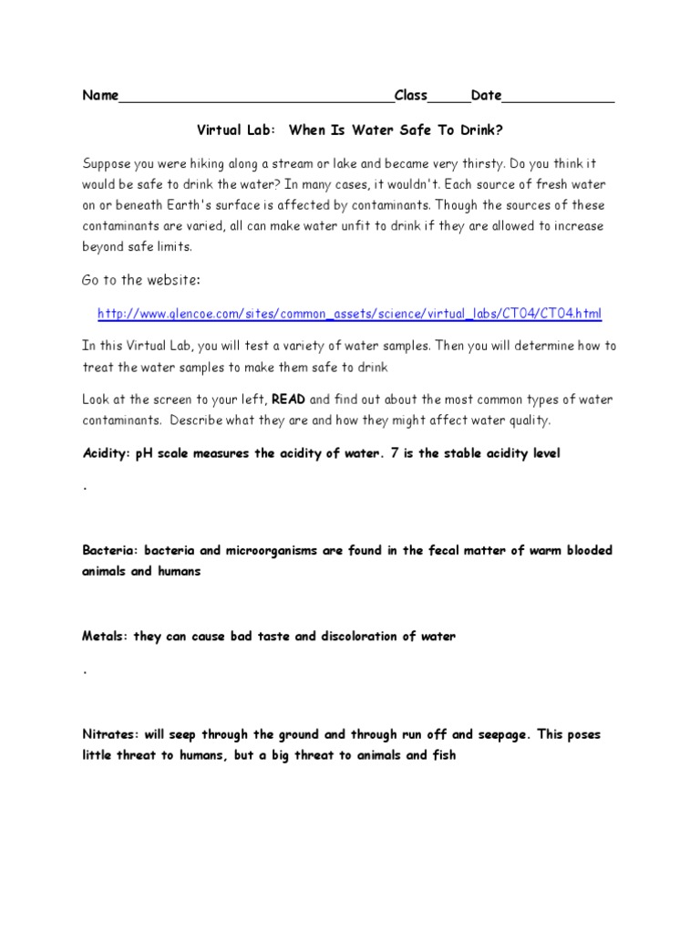 virtual lab-water quality   Water   Chimie