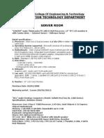 IT-server Room Detail brief