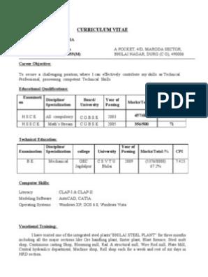 fresher mechanical engineer resume | Steel Mill | Technology