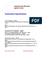 Examination Specifications for english core class 12th cbse