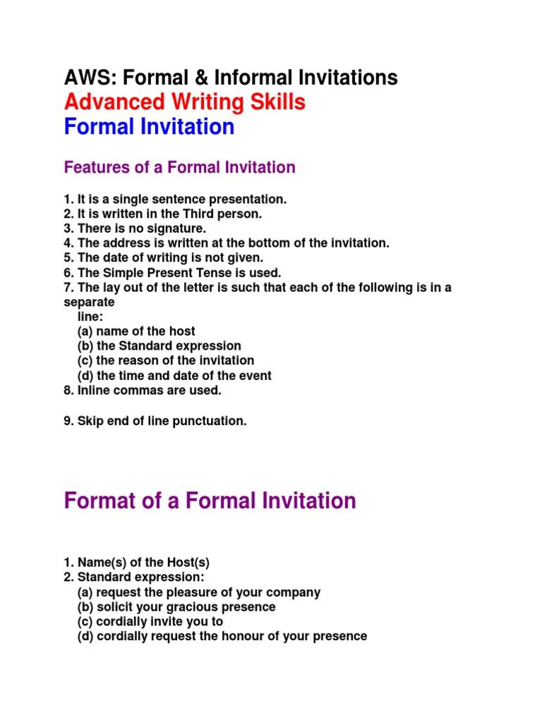 Formal informal invitations social conventions social institutions stopboris Gallery