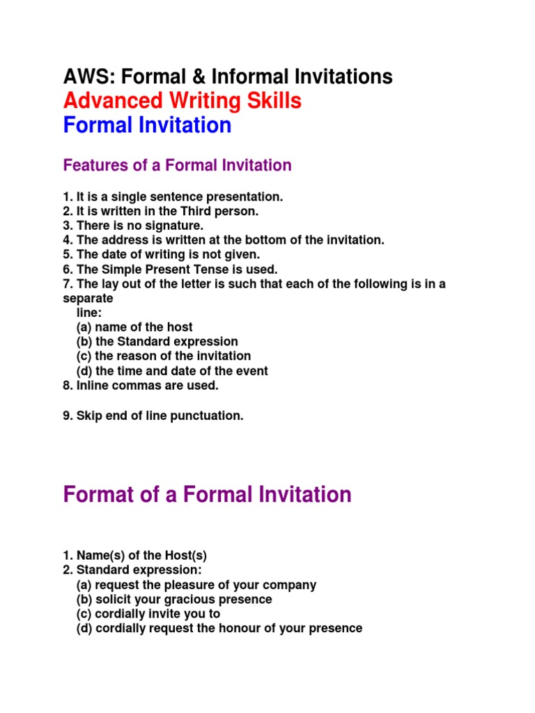 Formal Informal Invitations Social Conventions Sociedade