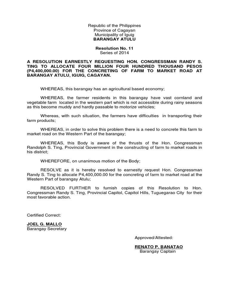 Resolution No 11 Atulu