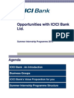 Summer Internship at ICICI Bank 2015