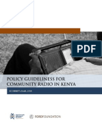 Policy Guideliness for Community Radio in Kenya
