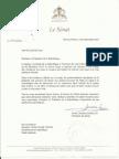 Lettre et document du Sénat de la République au Président Martelly
