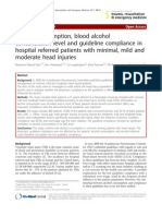 Alcohol Consumption, Blood Alcohol Concentration Level and Guideline Compliance in Hospital Referred Patients With Minimal, Mild and Moderate Head Injuries